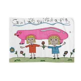 ホンモノのブタかぶってる女の子 Blankets
