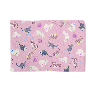 Fanfleecyのmeow meow(pink) Blankets