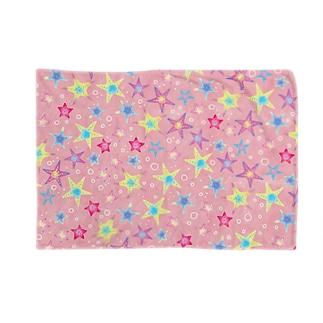 ヒトデぎっしり柄(pink) ブランケット