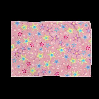 Fanfleecyのヒトデぎっしり柄(pink) ブランケット