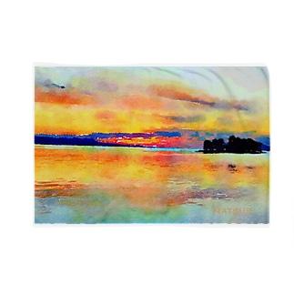 宍道湖の夕日 水彩 Blankets