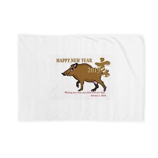 亥年の猪のイラスト年賀状 Blankets