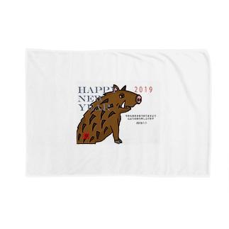 2019亥年の猪のイラスト年賀状イノシシ Blankets