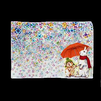 ボールペン画と可愛い動物の雨紫陽花 ブランケット