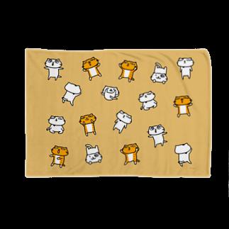 のびネコねこハウスSHOPの【のびネコねこハウス】2019冬コレクション・ねこいっぱい(ベージュ) Blankets
