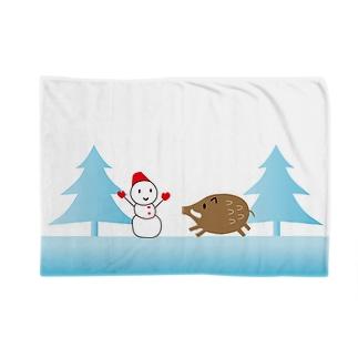 雪だるまとイノシシ Blankets
