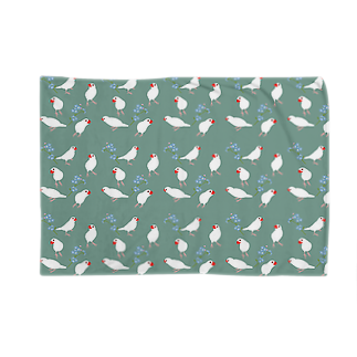 文鳥中心の文鳥と青い花 Blankets