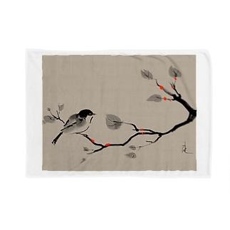 鳥 水墨画 Bird Ink Painting Blankets