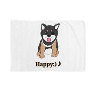 うるうる黒柴犬ちゃん 英語ロゴ Blankets