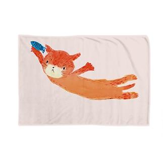 ねこ大ジャンプ! ブランケット Blankets