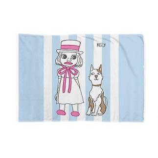 犬と女の子-ストライプ Blankets