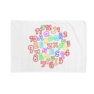カラフルな数字とアルファベット Blankets