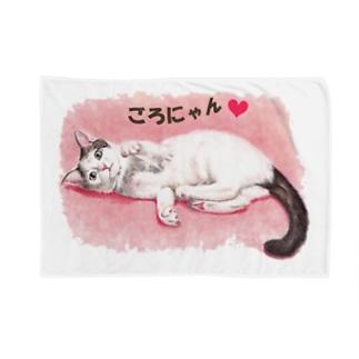 猫パステル画〈ごろにゃん💗〉 Blankets