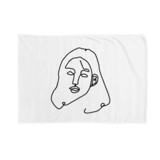 一筆書き woman Blankets