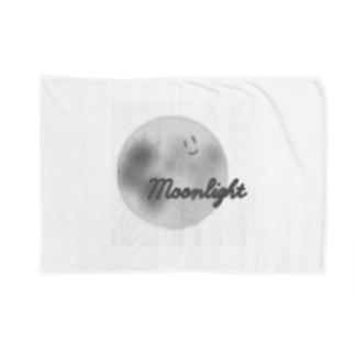 顔つき月【モノクロ】 Blankets