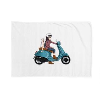 ねこと一緒にバイクで買い物へ Cat and go shopping with bike  Blankets