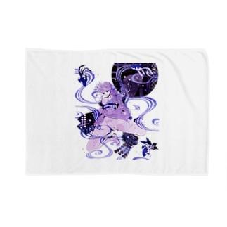 和柄 青の金魚姫3 藤紫 キモノガール Blankets