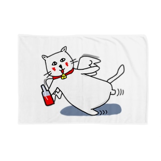白猫のネコ先輩 ブランケット