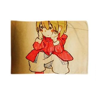 しゃがんでいる少女(イラスト 女の子 鉛筆)ふっふ Blankets
