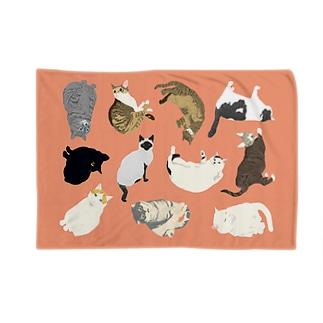 ねこ集合ブランケット(ピンク) Blankets