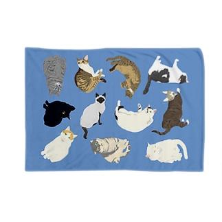 ねこ集合ブランケット(ブルー) Blankets