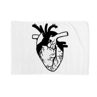 Cɐkeccooのドキドキ心臓‐モノクロ Blankets