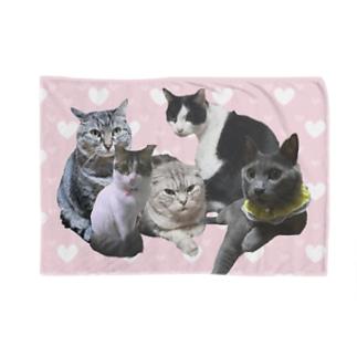 ニャンfamily Blankets