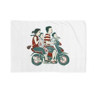 【バリの人々】バイク家族乗り Blankets