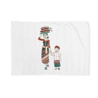 【バリの人々】お母さんと子供 Blankets