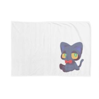 にゃんこりぼん(くろねこ) Blankets