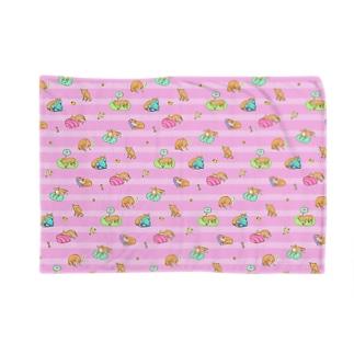 おねむ犬パターン(ピンク) Blankets