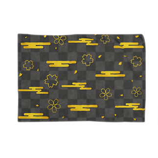 つきしょっぷのモノクロの和柄 雲と桜 Blankets