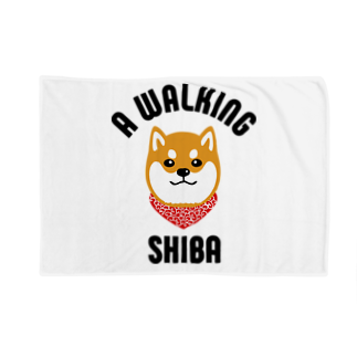 SHIBAINU BROTHERSの柴犬唐草散歩(赤) Blankets