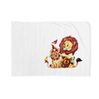 親子ライオン Blankets