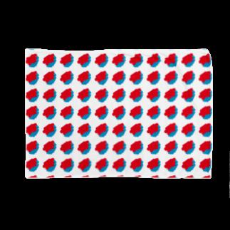 SANKAKU DESIGN STOREの赤青/青赤 ブラシ水玉模様。A Blankets