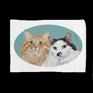 kinako-japanの猫社長さん 猫専務さん 青 Blankets