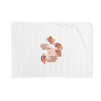 yuruholismの和柄 和風 花柄 赤色 朱色 シック Blankets