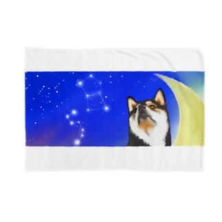 (黒柴)うちのわんこchanシリーズ 月と星 横長  Blankets