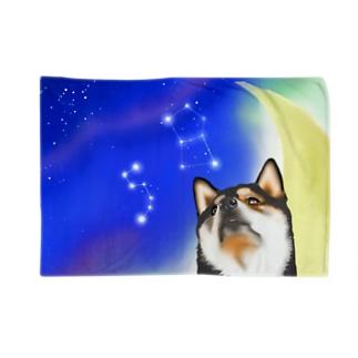 (黒柴)うちのわんこchanシリーズ 月と星 ブランケット用 Blankets