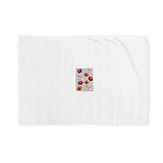 花柄 ×  ボーダー グリーン Blankets