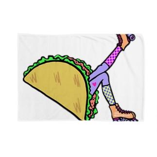 タコス ローラースケート ガール  TACOS ROLLER GIRL DOT 水玉 ドット Tacos Rollerskate Rainbow Blanket