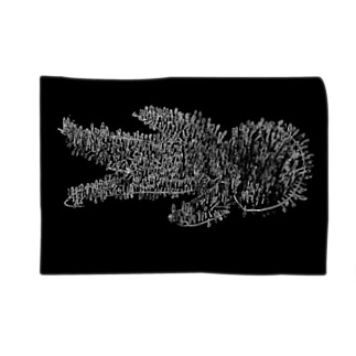綿棒刺突図(黒) Blankets