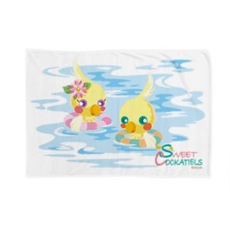 Sweet Cockatiels/浮き輪で海水浴 Blankets