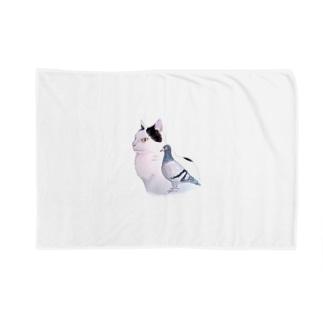 猫とハト Blankets