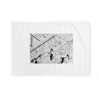 鎌倉時代白描絵巻ぐっず Blankets