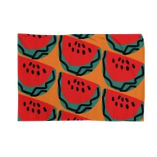 スイカ(オレンジ) Blankets