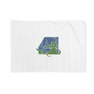 冒涜的な猫ルフ(白線) Blankets