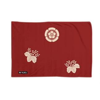 木瓜桐文緋羅紗陣羽織柄 ブランケット Blankets