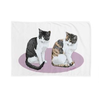 河原の野良猫ビワとコチャ Blankets