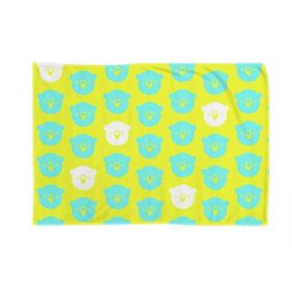 ドットクマ黄青白 Blankets